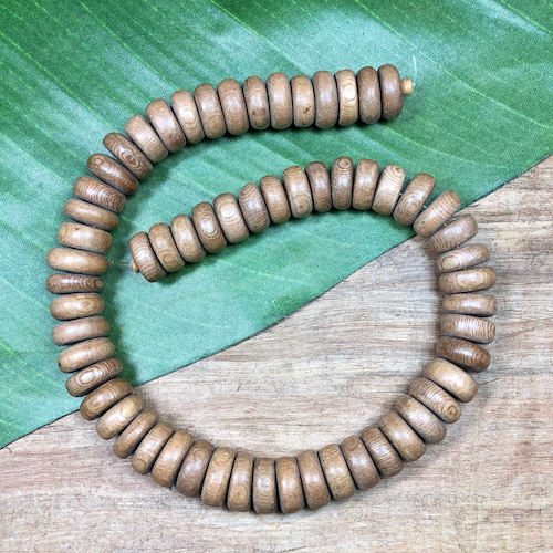 Tan Wood Rondelle Beads - 60 Pieces