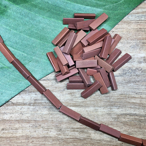 Terra Cotta Triangle Tube Beads - 90 Pieces