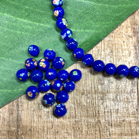 Cobalt Tombo Flower Beads - 50 Pieces