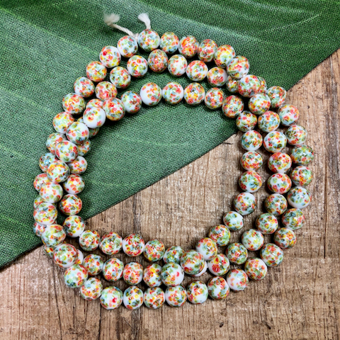 White, Orange, & Green Flower Beads - 100 Pieces