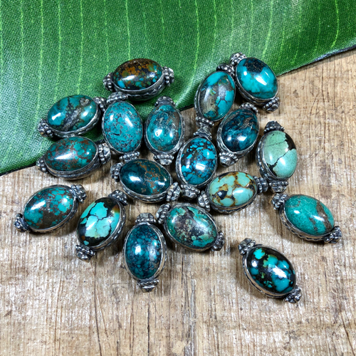 Large - turquoise/sterling beads