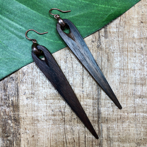Wood Spike Earrings