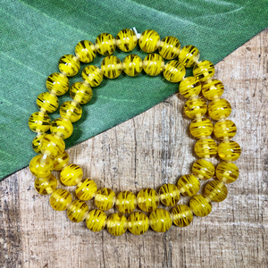 Vintage Lemon Yellow Beads - 100 Pieces