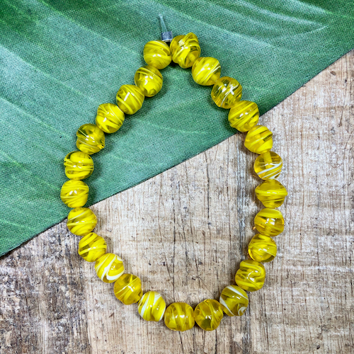 Lemon Yellow Wound Beads - 25 Pieces