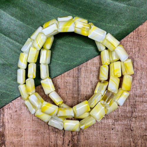 Yellow Czech Chiclet Beads - 50 Pieces