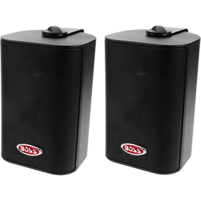 "Box Speakers, 4"" 3-Way, 200 Watt, Black"