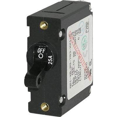 Breaker, A, 1 Pole Blk-Toggle AC-DC 25A
