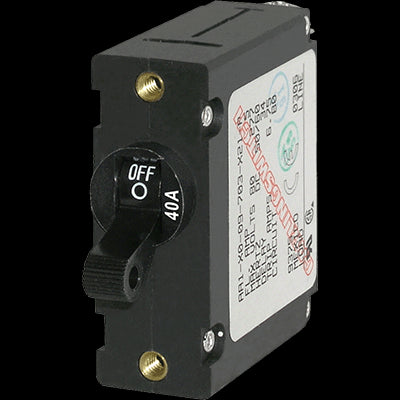 Breaker, A, 1 Pole Blk-Toggle AC-DC 40A