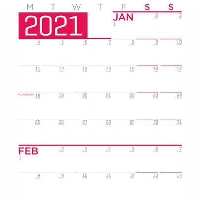 Giant Calendar, Monday First - 6ft x 3ft