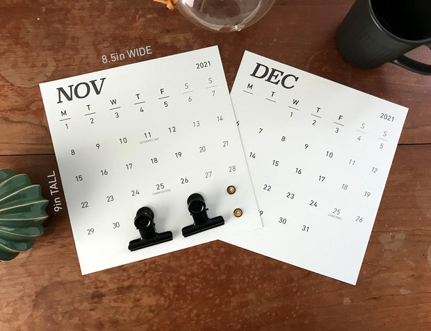 Grey Etsy Wall Calendar