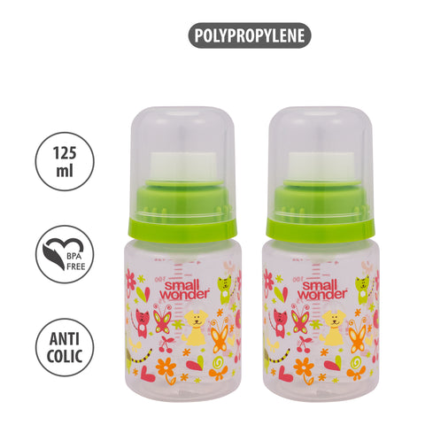 125ml Pure Feeding Bottle Green Pack Of 2 - Small Wonder