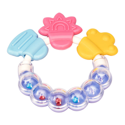 Rainbow Rattle Silicone Teether Purple - Small Wonder