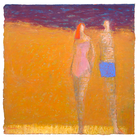 Original Artwork by Ruth Hunter | Beach People | Two Figures in an Inner Landcape