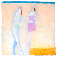 Original Artwork by Ruth Hunter   Breezy Afternoon   two figures on beach