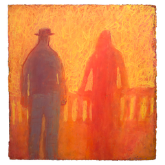 Original Artwork by Ruth Hunter   He's My Pal   two figures looking out