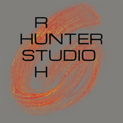 Ruth Hunter Studio warm grey with red and yellow brush stroke logo