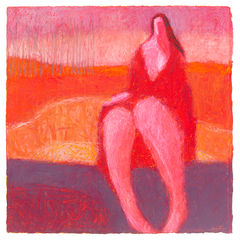 Original Artwork by Ruth Hunter   Woman In A Grove   red woman in inner landscape