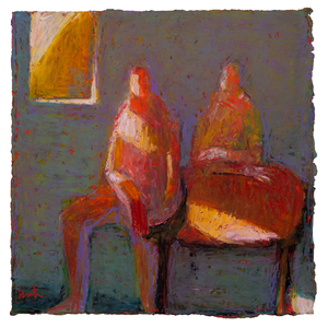 Original Artwork | Figurative Painting by Ruth Hunter | November Light | two figures at table with diagonal light from window