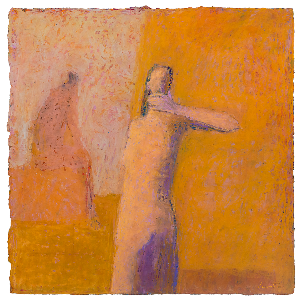 Original Artwork | Figurative Painting by Ruth Hunter | A Kind of Wisdom | two figures in an abstract landscape