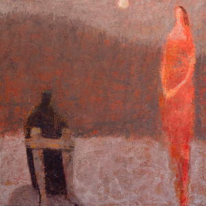 Original Artwork | Figurative Painting by Ruth Hunter | Ashes In Moonlight | Abstract Figures in an Inner Landscape