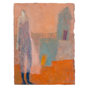 Original Artwork | Figurative Painting by Ruth Hunter | Basement Entry | figure in abstract landscape with house