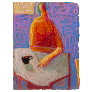 Original Artwork | Figurative Painting by Ruth Hunter | Black Tea | red figure at table with black cup