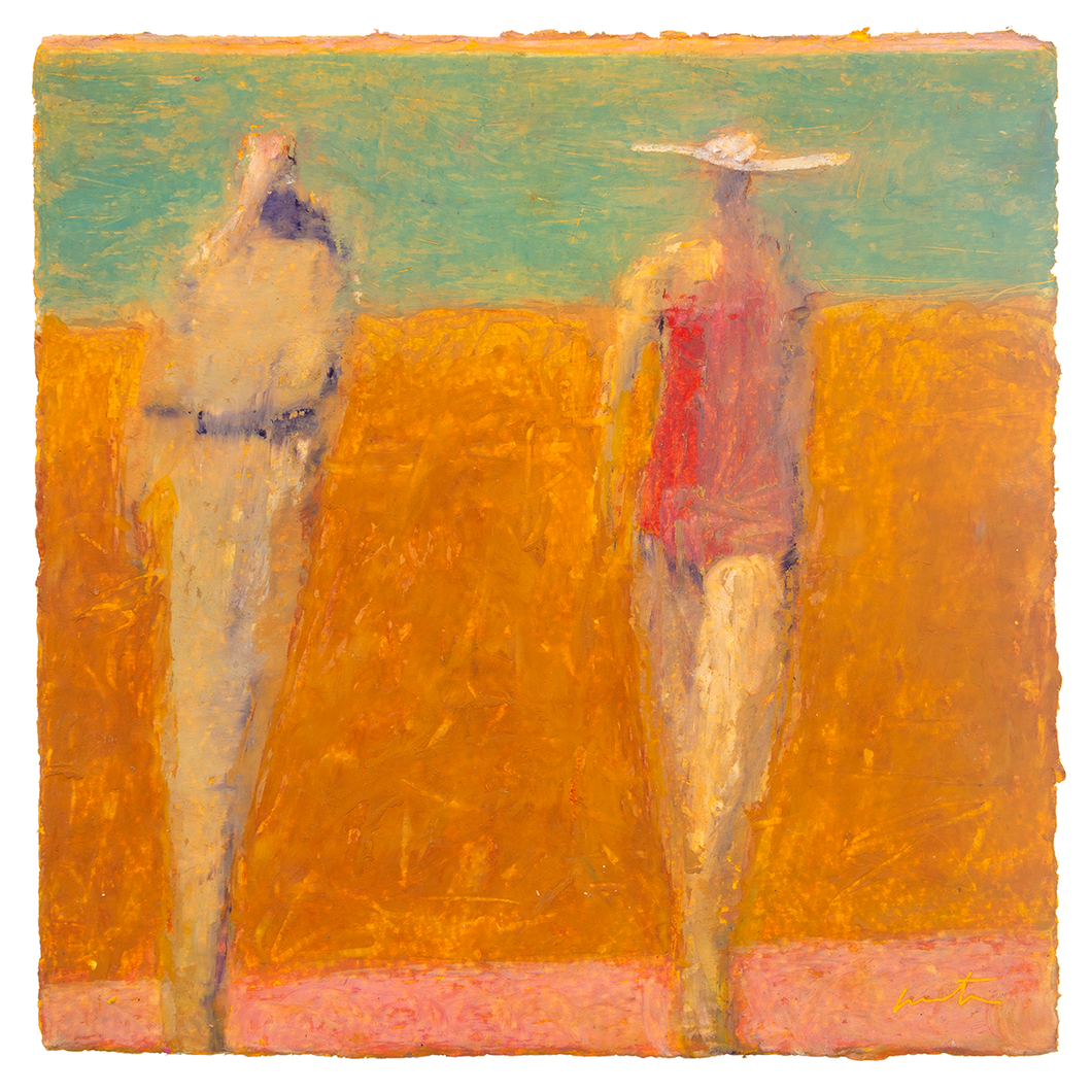 Original Artwork | Figurative Painting by Ruth Hunter | Boardwalk | two figures at the beach