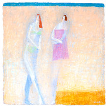 Load image into Gallery viewer, Original Artwork | Figurative Painting by Ruth Hunter | Breezy Afternoon | Figures in an Abstract Landscape