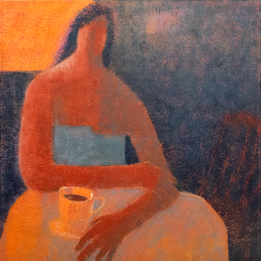 Original Artwork | Figurative Painting by Ruth Hunter | Cafe Americano | Contemporary Portrait at table with cup interior