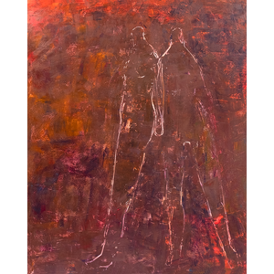 Original Artwork | Figurative Painting by Ruth Hunter | Catch Me if I Fall | contemporary figures in an inner landscape