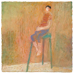 Original Artwork | Figurative Painting by Ruth Hunter | Charlie's Chair | boy sitting on chair | interior