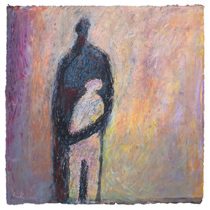 Original Artwork | Figurative Painting by Ruth Hunter | Dark Mother | two figures in an abstract landscape