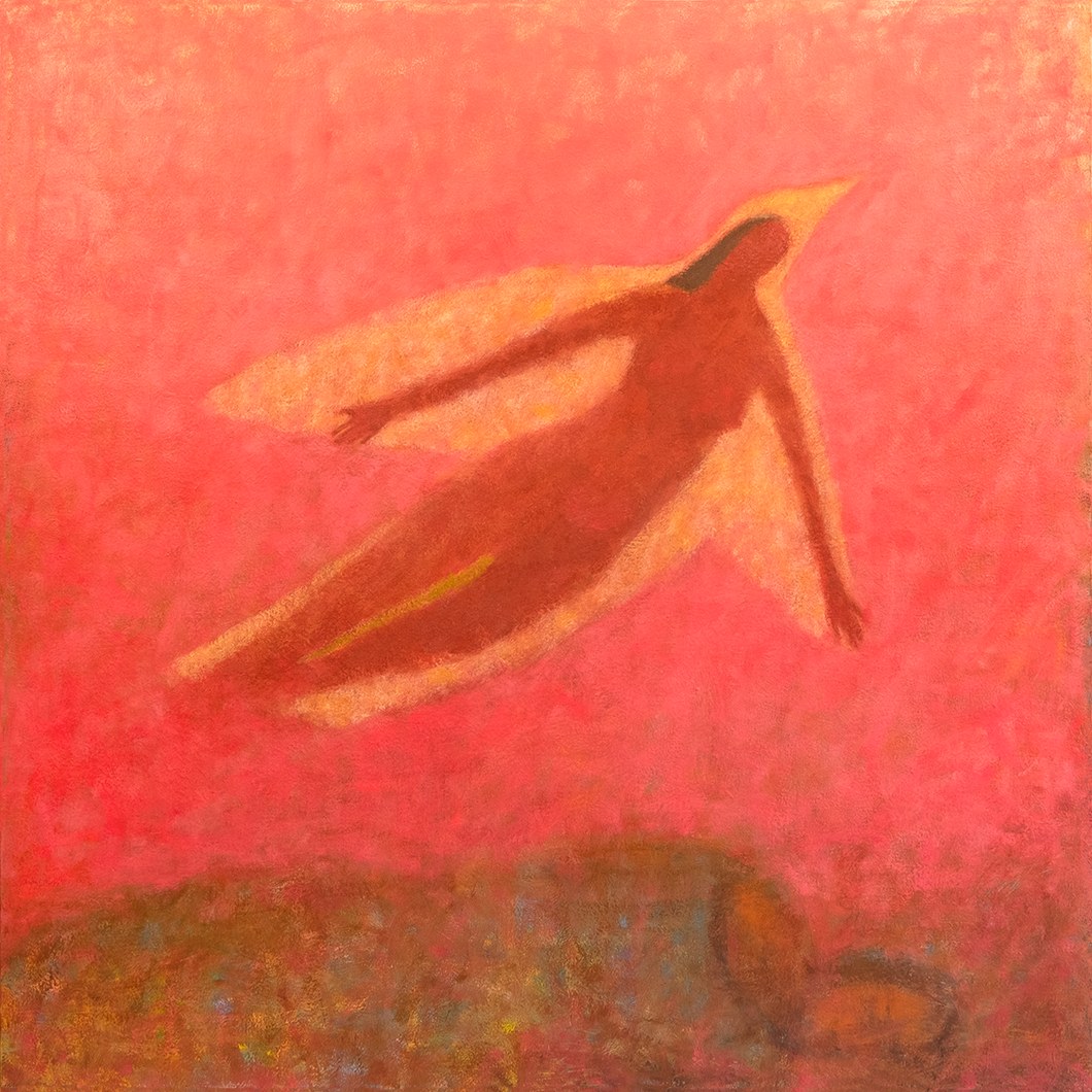 Original Artwork | Figurative Painting by Ruth Hunter | Dreaming I Am A Bird | Contemporary Bird/Figure in an Inner Landscape