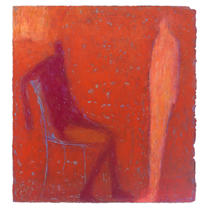 Original Artwork | Figurative Painting by Ruth Hunter | Interior Rouge | two figures in red interior