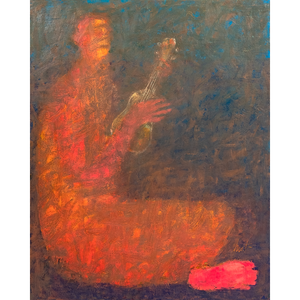 Original Artwork | Figurative Painting by Ruth Hunter | Little Song | contemporary figure with ukulele