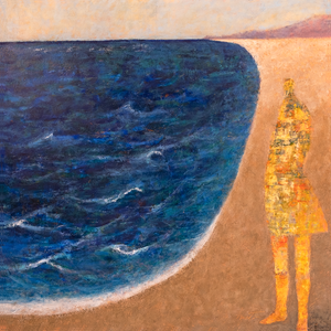 Original Artwork | Figurative Painting by Ruth Hunter | Long Beach | Figure in a Contemporary Landscape