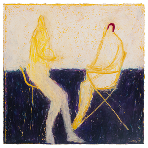 Original Abstract Figurative Painting by Ruth Hunter | Long Story | two yellow figures on chairs in white and deep blue composition
