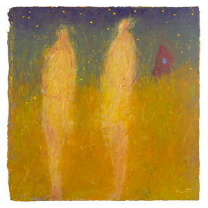 Original Artwork | Figurative Painting by Ruth Hunter | Magic Hour | two figures in landscape with fireflies