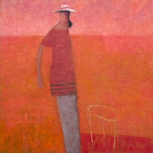 Load image into Gallery viewer, Original Artwork | Figurative Painting by Ruth Hunter | Mary's Patio | figure in pink landscape