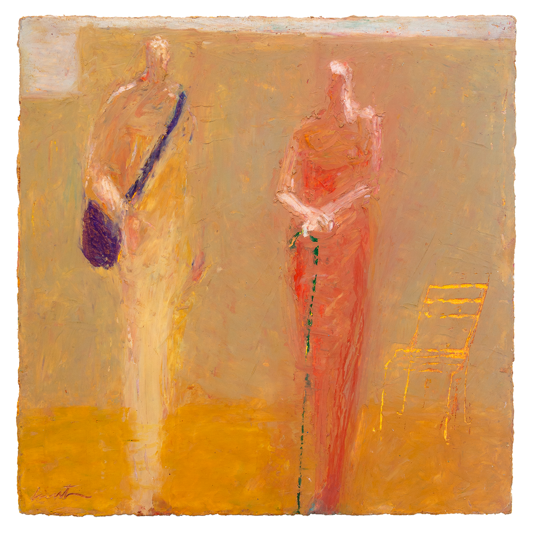 Original Artwork | Figurative Painting by Ruth Hunter | Messenger | two figures in a landscape