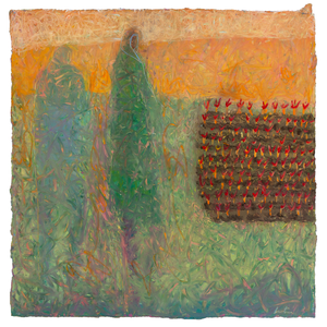 Original Artwork | Figurative Painting by Ruth Hunter | Micro Garden | two figures overlooking  garden in abstract landscape