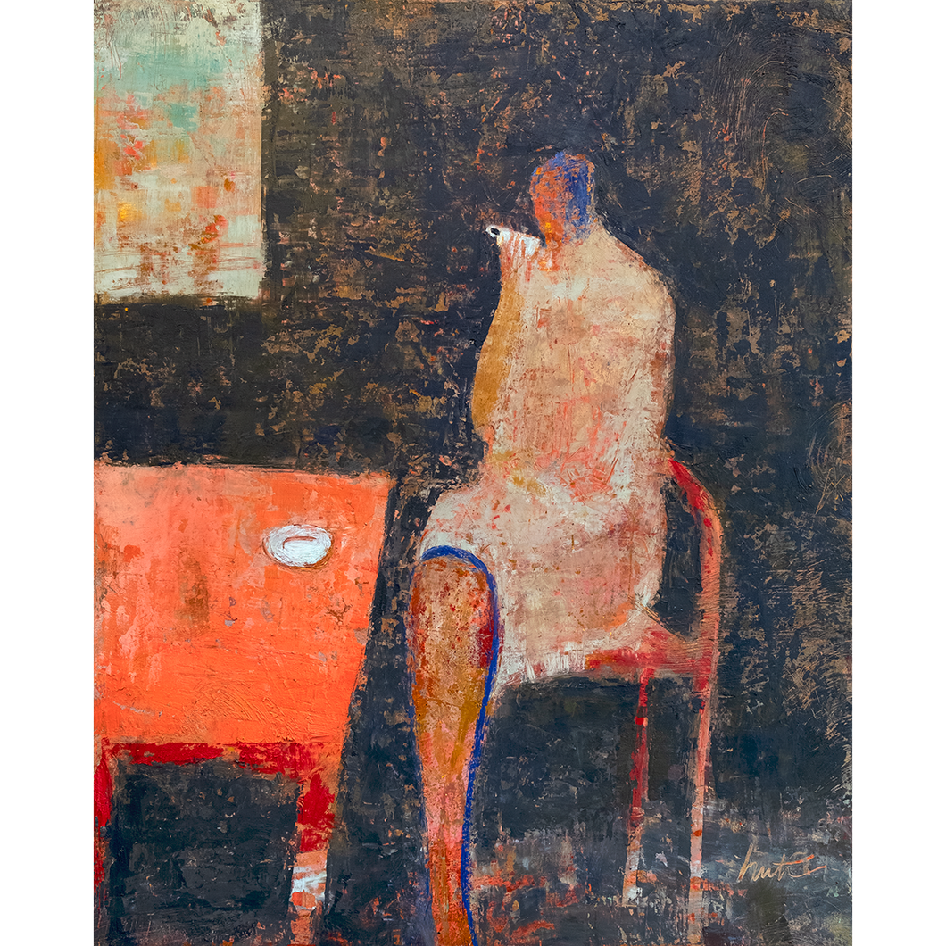 Original Artwork | Figurative Painting by Ruth Hunter | Morning Cup | contemporary figure in interior with table and window drinking coffee