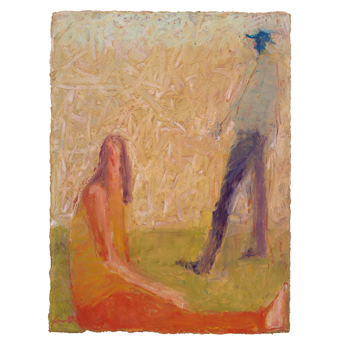 Original Artwork | Figurative Painting by Ruth Hunter | Park People | two figures in a landscape