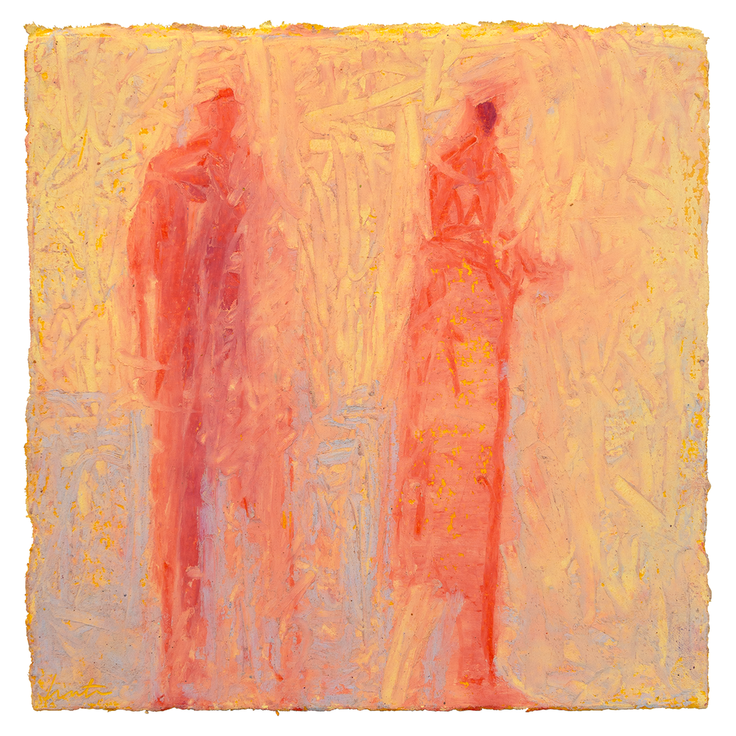 Original Artwork | Figurative Painting by Ruth Hunter | Perfect Light | two red figures  in yellow atmosphere