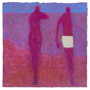 Original Artwork | Figurative Painting by Ruth Hunter | Pink Beach | two figures in abstract landscape
