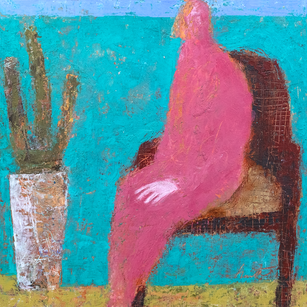 Original Artwork | Figurative Painting by Ruth Hunter | Pink Lady | Contemporary Figure with Cactus