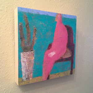 Original Painting on Birch Wood Panel by Ruth Hunter | Pink Lady | Natural Wood Profile