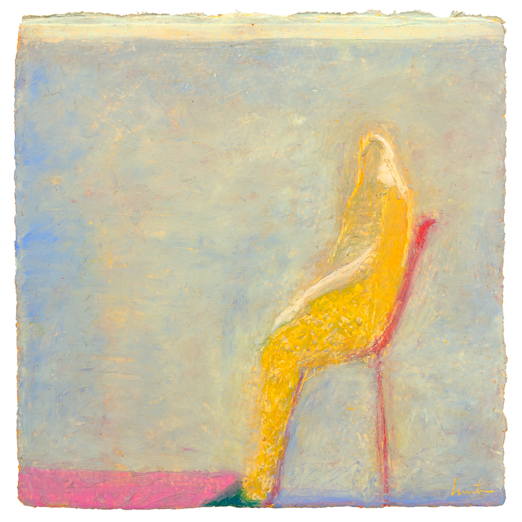 Original Artwork | Figurative Painting by Ruth Hunter | Pink Moment | Seated figure in blue interior