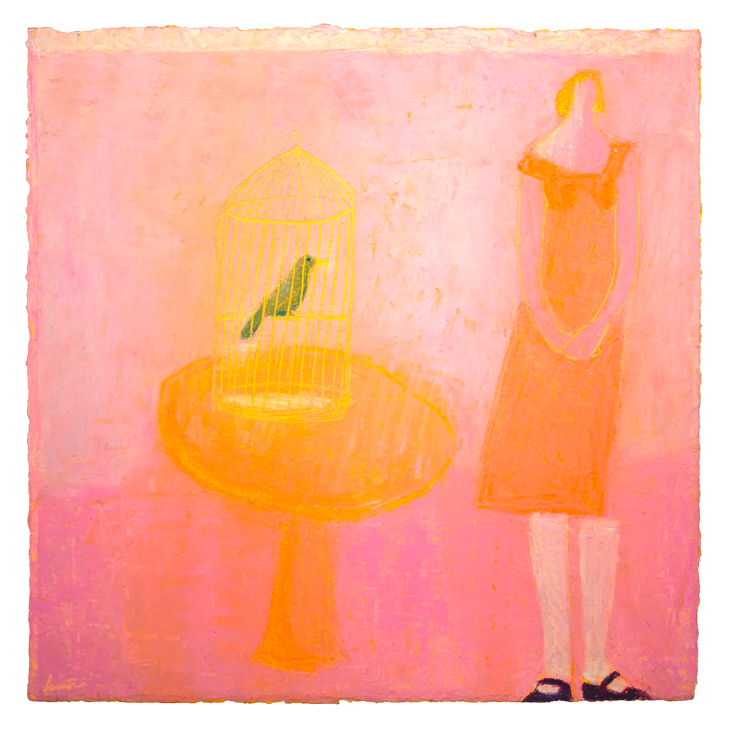 Original Artwork | Figurative Painting by Ruth Hunter | Pink Song | Contemporary Interior with figure and caged bird