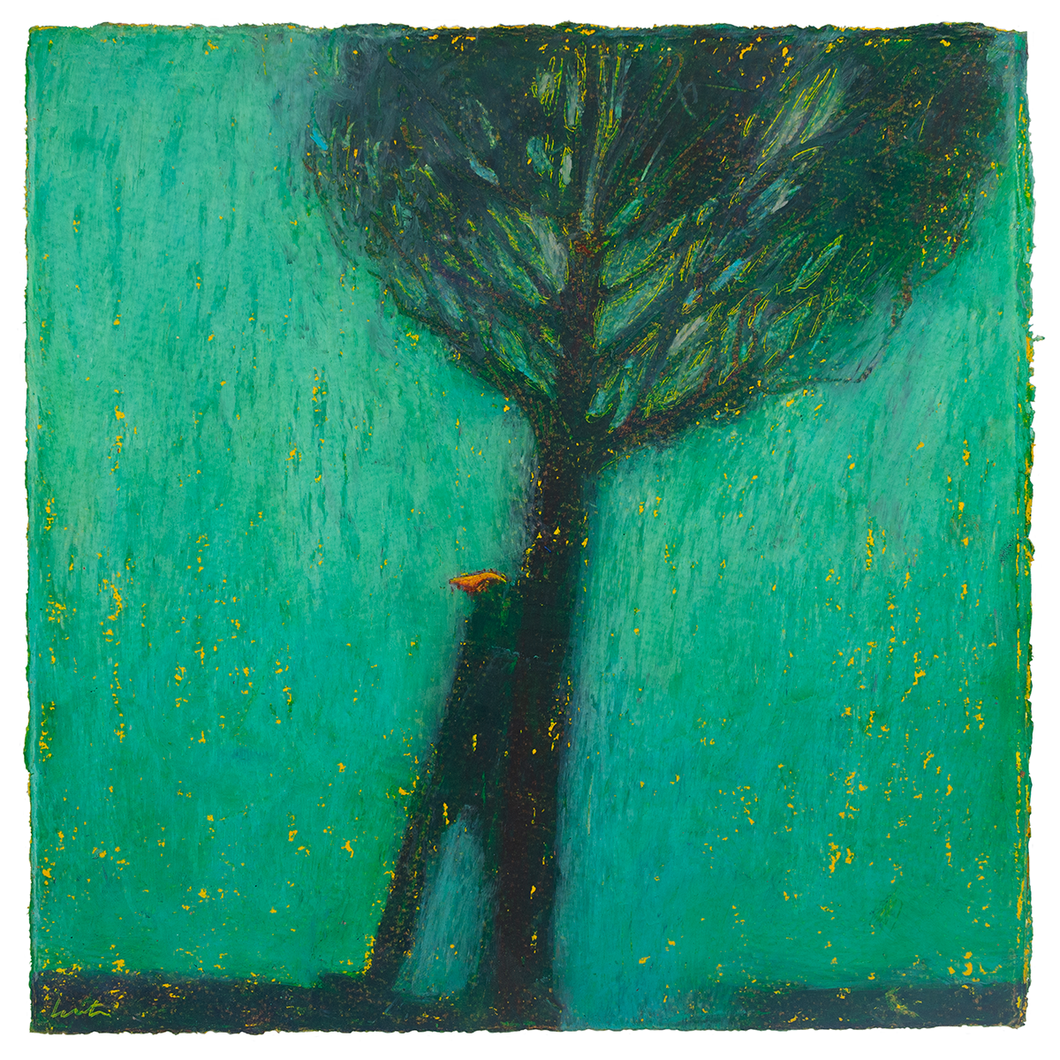 Original Artwork | Figurative Painting by Ruth Hunter | Rain | figure under tree green atmosphere
